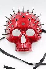 SteamPunk Full Face Skull Mask with Spikes Halloween Costume Masquerade Red