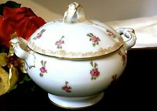 LIMOGES T&V DEPOSE TOURAINE FRANCE 22K Gold & Red Rose Lidded Sugar Bowl  100 Yr