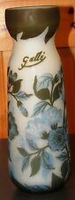 "Galle Cased Glass Vase With Etched Flowers 9 1/2"" Tall"