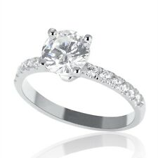 1 Carat F SI1 Real Diamond Engagement Ring Round Cut 18K White Gold Enhanced