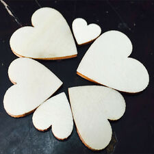 100pcs Unfinished Wooden Wood Heart Shape Pieces Craft Card Making Scrapooking