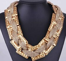Fashion Woman gold quadrate chain Bib Statement Chunky Pendant Necklaces 8