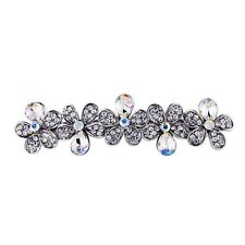 USA BARRETTE Hair Clip using Swarovski Crystal Hairpin Flower Bridal Silver 04