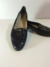 Ladies Trotters Leather Shoes Liz Loafers 12M Black Patent Basket Weave