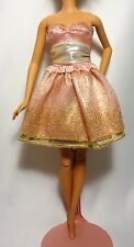 Soft Pink with Gold Accents Barbie Fashion Sleeveless Short Dress