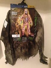 NWT Fun World Child Skeleton Zombie Costume Shirt Pants Mask Gloves Sz L (10-12)