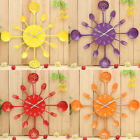 Cutlery Kitchen Utensil Wall Clock Spoon Fork Ladel Clock Home Decor 8 Colors