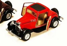 """1:34 RED 1932 FORD 3 WINDOW COUPE KINSMART DIECAST CAR 5"""" Smaller Than 1:32"""
