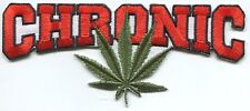 CHRONIC with hemp leaf EMBROIDERED IRON-ON PATCH **FREE SHIPPING** -weed 420 bud