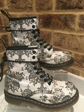 Dr Martens Size 3 EU 36 White Silver Glitter Floral Leather Boots