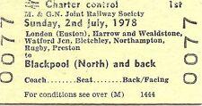 B.R.B. Edmondson Ticket - M. & G.N. Jt. Railway Society Blackpool Railtour 1978