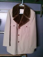 Men's London Fog Ranchers Trench Coat Size 46 Faux Sherpa Lining Western Trim