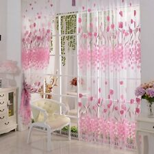 2*1M Tulip Print Voile Curtains for Living Room Window Curtain Tulle Pink