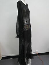 Rare Vtg 1930s Glass Beaded Evening Gown Silk Chiffon & French Net