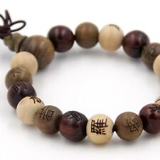 Tibet Buddhist Wood Buddha Word Prayer Beads Mala Bracelet