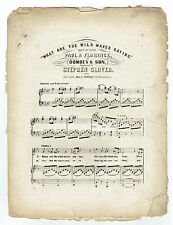 1850's 1860's WHAT ARE THE WILD WAVES SAYING Song Sheet Music from Dombey & Son