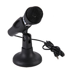 New 2 in 1 Wired 3.5MM Interface Handheld Microphone with Holder for Laptop PC