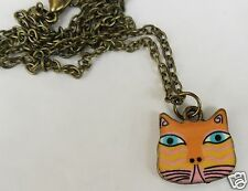 COLOURFUL CAT ORANGE TABBY PENDANT ON A BRONZED TONE 44CM CHAIN