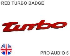 Turbo Rojo cursiva insignia del coche-Universal Turbo Cargador Coche van Insignia Reino Unido rápido post