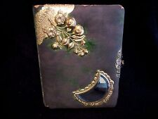 Antique Victorian Ornate Velvet Photo Album Half Moon Beveled Mirror,Flowers