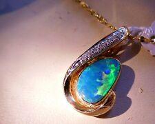 BRIGHT Black AUSTRALIAN Opal 7 Diamonds 14k Gold Pendant Ladies $1,750.00 NWT