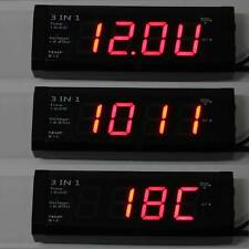 12V Digital Car Voltage Monitor Battery Alarm Clock LED Temperature Thermometer