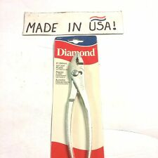 "Diamond 8"" Slip Joint Pliers W/ Wire Cutter - K38H  New Old Stock USA Made"