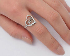 Silver Oxidized Heart & Mom Ring Sterling Silver 925 Best Deal Jewelry Size 9