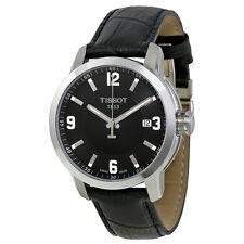 Tissot PRC 200 Quartz Black Dial Black Leather Sport Mens Watch T0554101605700