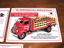 1938 Budweiser Stakebed Delivery Truck Complete MIB 1:24 Danbury Mint 1996