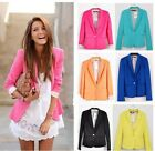 Fashion Women's Casual Candy Color Basic Slim Foldable Suit Jacket Blazer Hot