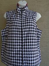 Kim Rogers Soft Plush Fleece Fashion Vest 3X Black/White Hounds tooth  msrp $44.