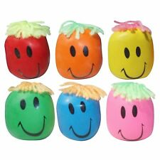 6 x Moody Smiley Face Stress Ball - Stretchy Squishy Moulding Dough Fidget Toy