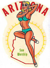 Arizona Sun Worship Pin-Up Gal   Vintage-Looking Travel Decal Label/Sticker