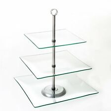 OpenBox Chef Buddy 3-Tier Square Glass Buffet and Dessert Stand