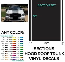 WIDE VINYL STRIPE SET SECTIONS HOOD ROOF TRUNK CAR TRUCK DECAL Pins Set NEW