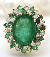 6.50CTW Natural Colombian Emerald and Diamonds in 14K Solid Yellow Gold Ring