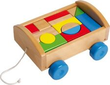 Jeux/Jouets en bois - Jeu de construction à tirer chariot (Neuf) Qualité UE