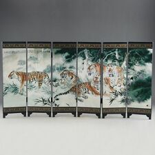 "CHINESE HANDWORK  LACQUER OLD PAINTED FIVE BLESSING TIGER ""SIX FOLD SCREEN DECO"""