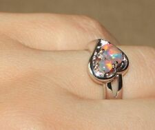 fire opal ring silver gems jewelry Sz 6 7 elegant cocktail Heart designed band