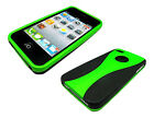 Stylish Grip Series Dual Black Green Hard Cover Case For Apple iPhone 4 4S 4G