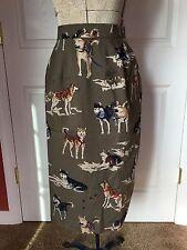 Women's GEIGER Collections Wool Dog Print Husky Lined Skirt Austria Size 34