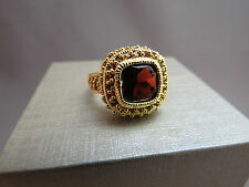 Sterling Silver Ring Garnet Red Cut Stone 925 Size 7.5 Gold Vermeil 8.8g NWOT