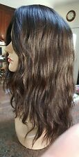 New 100% human Virgin Hair #2 Brown Topper Kipah Fall Silk top hand tied wavy