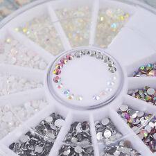 Charm Colors DIY Nail Art Tips Gems Crystal Glitter Rhinestones 3D Decor Wheel