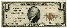 1929 $10 National Currency Bank Note - 539 Philadelphia Pennsylvania - USU KY290