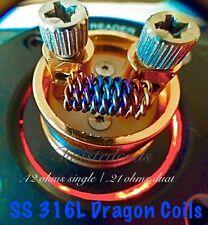 (10) SS 316L Twisted Dragon Coils 24g (Clapton Pre Built Coils Vape Coils)