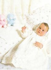 LACY CHRISTENING SET shawl,dress & bonnet / 3ply - COPY baby knitting pattern