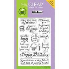 Hero Arts YUMMY TREATS Happy Birthday Cake 4X6 CL489 Clear Cling Stamp Set 11PK