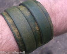 GENUINE LEATHER FADED GREEN WRISTBAND WRIST STRAP CUFF BRACELET MENS BUCKLE DYED